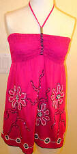 Krista Lee Posey Themed Fuscia Pink Halter Top Embroidered/Beaded Size L,XL NWT
