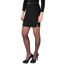 Fitted Short Pencil Skirt Belted Formal Business Panelled Evening Mini Stretch