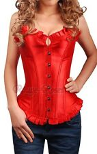 Red Moulin Rouge Satin S-6XL CORSET French Ruffle Trim Ardent Appealing RR-g8022