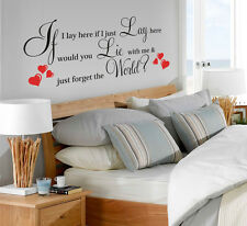 """Vinyl LARGE""""IF I LAY HERE SNOW PATROL""""WITH RED HEART Art Quote Wall Sticker 003"""