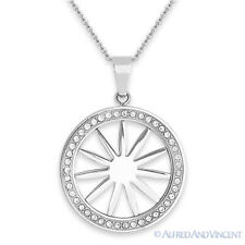 Stainless Steel Sun Charm Designer Pendant Cubic Zirconia CZ Crystal Necklace