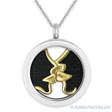 Stainless Steel Carbon Fiber Kiss Charm Circle Pendant & Chain Fashion Necklace