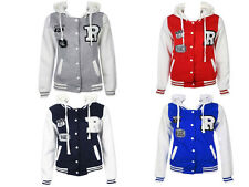 LADIES BASEBALL HOODED TOP WOMEN TRACK HOODIE BASEBALL JERSEY BOMBER JACKET TOPS