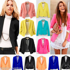2014 New Womens One Button Tunic Foldable Sleeve Blazer Jacket All Collection