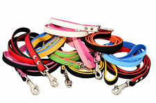 Real SOFT LEATHER DOG LEADS COLOUR PADDED Handmade