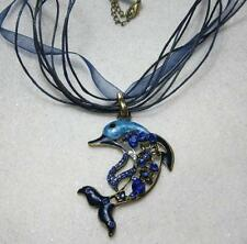 Enamel and crystal dolphin pendant on organza voile cord necklace choose colour