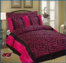 Safari Pink Purple Faux Silk and Flocking Zebra  Comforter Bedding Curtain Set