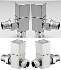 15 mm Square Brushed Heated Warmer Towel Rail Radiator Valves Straight or Angled