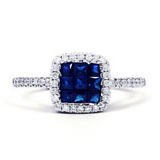 Natural 18K White Gold Blue Sapphire and Diamond Engagement Ring 1mm All Sizes