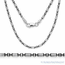 Sterling Silver Black Rhodium 2.3mm Diamond-Cut Bead Link Chain Italian Necklace