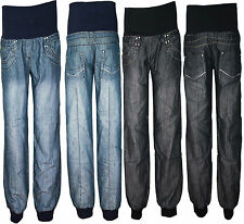 Womens Ladies Plus Size Denim Harem Elasticated Cuffed Trouser Jeans 20 22 24 26