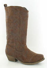 LADIES TAN PU ZIP UP MID CALF SLIP ON COWBOY STYLE BOOT- SPOT ON F50048