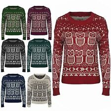 Womens Ladies XMas Owl Cross Snow Print Knitted Long Sleeve Jumper Top S M L XL