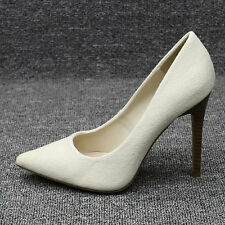 Womens Stiletto High Heels Shoes Beige Size 3014#