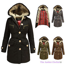 LADIES INNER FUR TARTAN CHECK LINING HOODED WOMENS MILITARY PARKA JACKET COAT