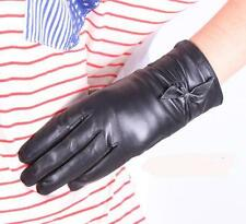 Women Fashion Genuine Leather Wrist Gloves Winter Evening Gloves Bowknot