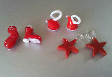 CHOOSE AMOUNT,RED GLASS LAMPWORK CHRISTMAS CHARMS, CHOOSE,XMAS STAR,BOOT OR HAT