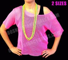 80s String Mesh Net Vest Top Neon Pink or Black M-XL