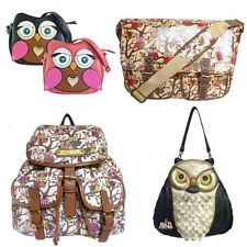 LYDC 3D Owl bag/ Anna Smith Canvas Rucksack Backpack&Oilcloth Owl Print Satchel