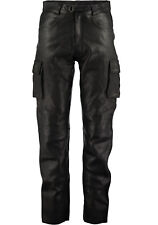 Mens Jeans Style Black Combat Cargo Leather Trouser Pants