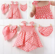 3pcs Kids Infant Baby Girls Dress+Short Pants+Hats Cap Costume Clothes Set 0-36M