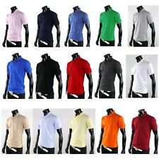 Mens Solid Basic Casual Golf Collar Polo T-shirts Style Cotton Top Tee Shirt Z