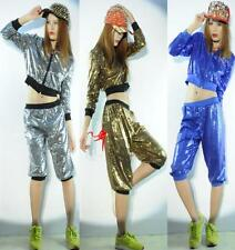 Women Shine Glitter Sequin Costume HIP HOP Jazz Dance DS 2 PIECE TOP Shirt Pants