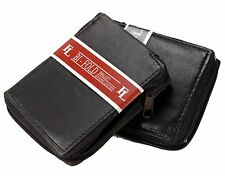 New Mens Bifold Zipper Around Leather Wallet Secure id cards Lambskin Coin Purse