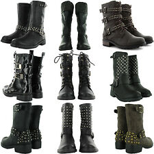 NEW LADIES LOW HEEL FLAT GOTH VINTAGE BIKER RIDING ANKLE BOOTS WOMENS SHOES
