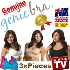 3 x GENUINE Genie Bra - Seamless Bra set with Pads S M L XL XXL XXXL Shapewear