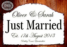 Large Personalised Just Married Wedding Sign Plaque Shabby Chic
