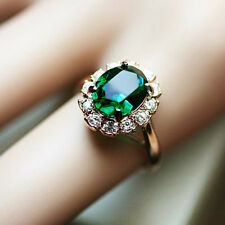 18K Rose Gold Plated Green Crystal Ring stud with Swarovski Diamonds R415