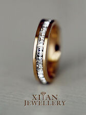 18K Rose Gold Plated Square Swarovski Crystals Classical Band Ring R408