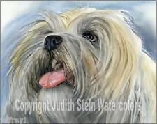 Lhasa Apso Dog Art Print Watercolor Painting Judith Stein Signed LITTLE GUARDIAN