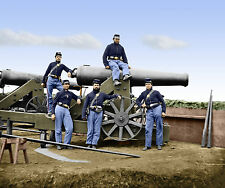 Fort Totten Artillery Canon Soldiers 3rd MA Color Tinted photo Civil War 00559