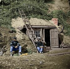 African Americans Bomb Proof Shelter Bunker Color Tinted photo Civil War 01926