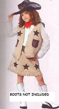 New Girls Cool Cowgirl Costume With Hat Vest Skirt and Neckerchief NWT