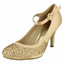 LADIES LIGHT GOLD SATIN COURT SHOES WITH DIAMANTE DETAIL ON TOE - L2240
