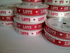 Vintage Circus Font LOVE print ribbon - 3m spool - Red & Cream - Wedding Craft