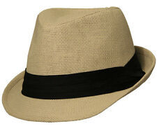 Short Brim Paper Fedora, Natural with Black Band
