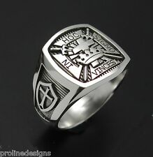 Masonic Knights Templar Cross Ring #017 Sterling Silver .925 Oxidized