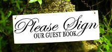 Please Sign Our Guest Book wedding sign plaque shabby chic rustic gift vintage