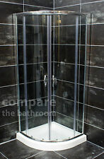 800mm Quadrant Enclosure Shower Cubicle + Stone Tray & Waste Option Chrome