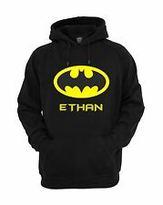 Funky Personalised Batman Superhero Kids Hoodie Jumper Ages 3 - 12