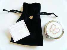 MIRROR IN VELVET GIFT BAG WITH ENGRAVED HEART CHARM & PERSONALISED MESSAGE CARD
