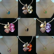 18K 18ct GOLD NEW 4 LEAF CLOVER HEART CRYSTAL FLOWER LOVE LUCKY PENDANT NECKLACE