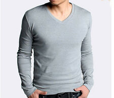 New fashion Men Slim Fit Cotton Lycra V-Neck Long Sleeve Casual T-Shirt Tops