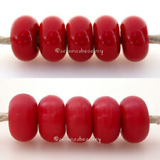 5 CHEERY RED * donut handmade lampwork glass spacer beads TANERES sra