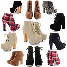 NEW LADIES STYLISH HIGH BLOCK HEEL CONCEALED PLATFORM LACE UP ANKLE BOOTS SHOES