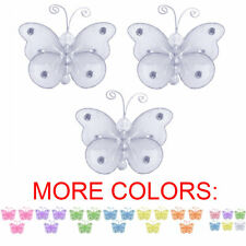Butterfly Decor Gray Pink Nylon Hanging Baby Room Nursery Wall Ceiling Grey